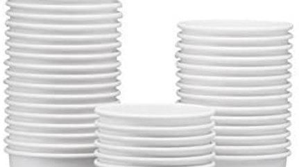 White dispenser cups