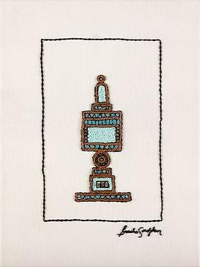 SHORT BLUE BESAMIM-The Original Hand Embroidered Artwork-39x53cm
