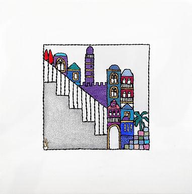 SILVER SQUARES-STEPS-The Original Hand Embroidered Artwork-55x55cm
