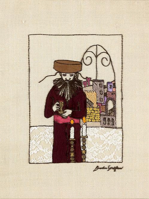 THE KIDUSH MAN-The Original Hand Embroidered Art Work-56x70cm