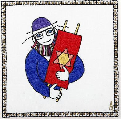 TORAH MAN SYMBOL-The Original Hand Embroidered Artwork