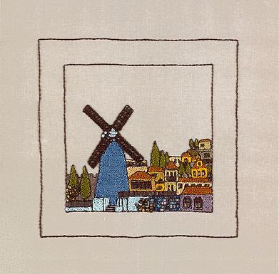 JERUSALEM PANORAMA-WINDMILL-Original Hand Embroidered Artwork-56x56 cm