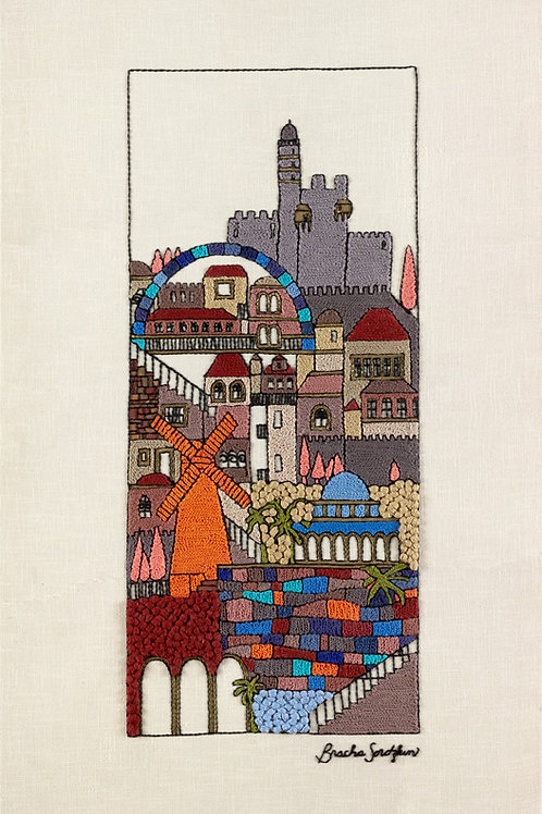 TALL GREY JERUSALEM-The Original Hand Embroidered Artwork