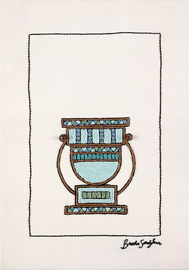 SHORT BLUE NATLAN-The Original Hand Embroidered Artwork-39x53cm