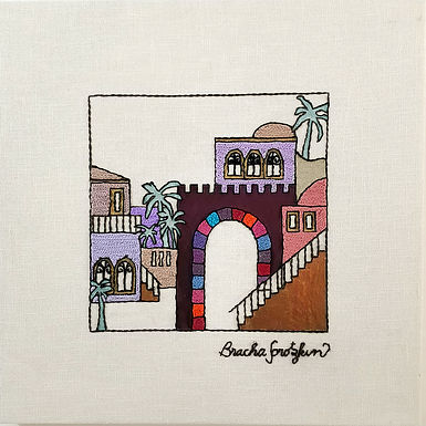 THE ORIGINAL HAND EMBROIDERED-JERUSALEM STEPS-3