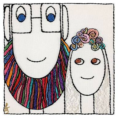 COLORED BRIDE AND GROOM-The Original Hand Embroidered Artwork