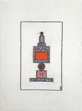 ORANGE BESAMIM-Original Hand Embroidered Artwork-60x80cm