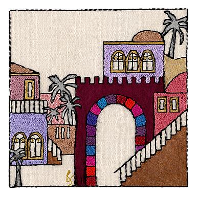 JERUSALEM STEPS-3-Original Hand Embroidered Artwork