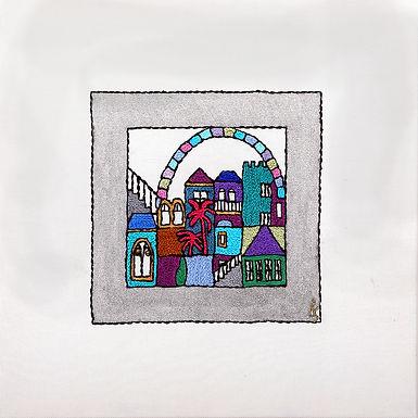 SILVER SQUARES-WINDOW-The Original Hand Embroidered Artwork-55x55cm