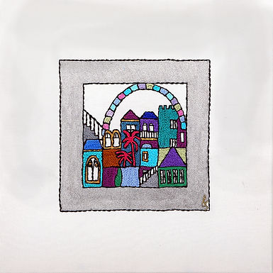 THE ORIGINAL HAND EMBROIDERED-SILVER SQUARES-WINDOW