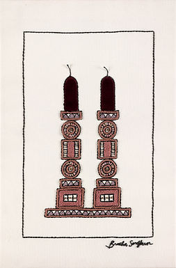 Velvet Candles-The Original hand Embroidered Artwork