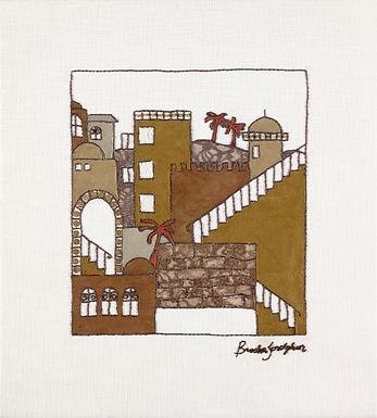 SUEDE JERUSALEM-The Original Hand Embroidered Artwork