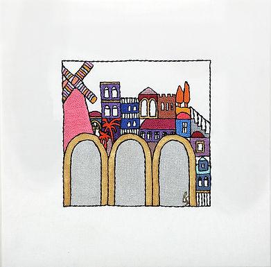 SILVER SQUARES-GATES-The Original Hand Embroidered Artwork-55x55cm