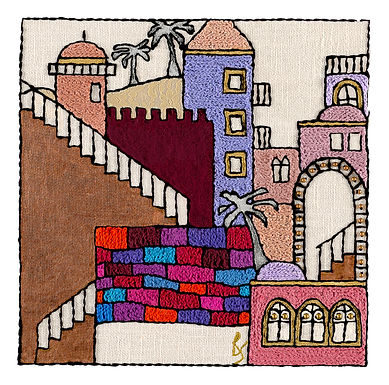 JERUSALEM STEPS-2-Mounted Stretched Canvas-60x60-Archival Print
