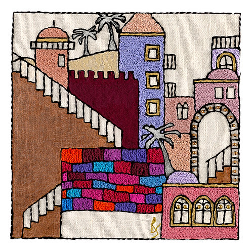 JERUSALEM STEPS-2-Mounted Stretched Canvas-60x60-Archival Print