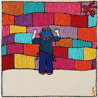 COLORED KOTEL BOY-Original Hand Embroidered Artwork
