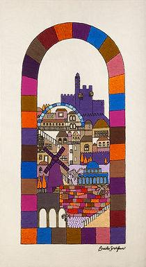 JERUSALEM GATE-The Original Hand Embroidered Artwork-98x175cm