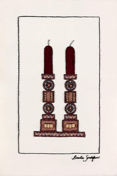 JUDAICA TALL CANDLES-The Original Hand Embroidered Artwork-51x78
