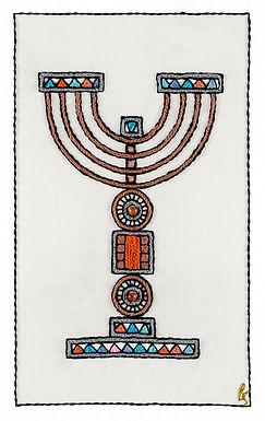 ORANGE MENORAH-Unmounted Rolled Arch Paper-45x60-Archival Print
