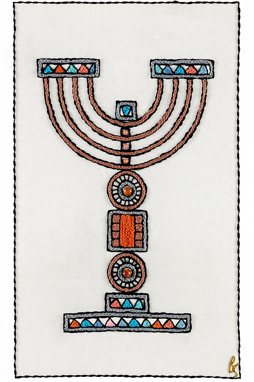 ORANGE MENORAH-Unmounted Rolled Arch Paper-30x50-Archival Print