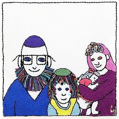 CHALMER FAMILY-Original Hand Embroidered Artwork-35x35 cm