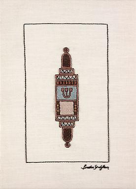 BROWN MEZUZA-Original Hand Embroidered Artwork-50x70cm