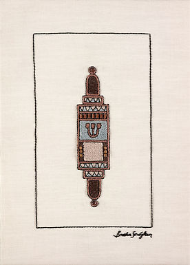 BROWN MEZUZA-Original Hand Embroidered Artwork-50x70cm