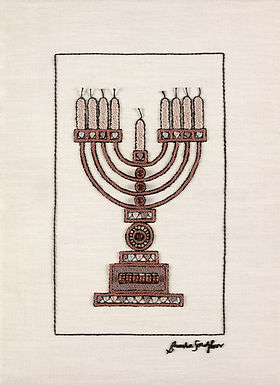 BROWN MENORAH-Original Hand Embroidered Artwork-50x70cm