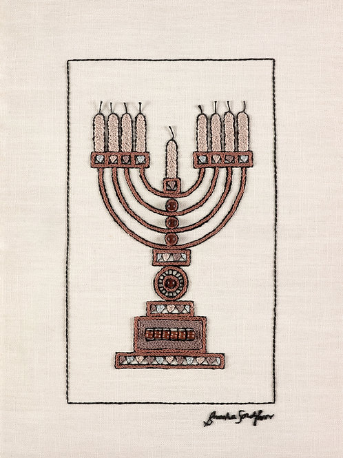BROWN MENORAH-Original Hand Embroidered Artwork-50x70cm