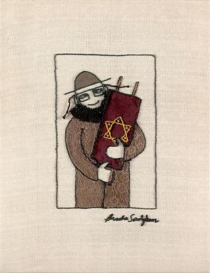 THE TORAH MAN-The Original Hand Embroidered Artwork