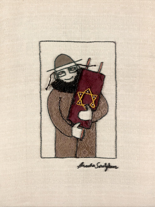 THE TORAH MAN-The Original Hand Embroidered Artwork