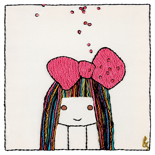 COLORED  BOW GIRL-Unmounted Rolled Archival Print