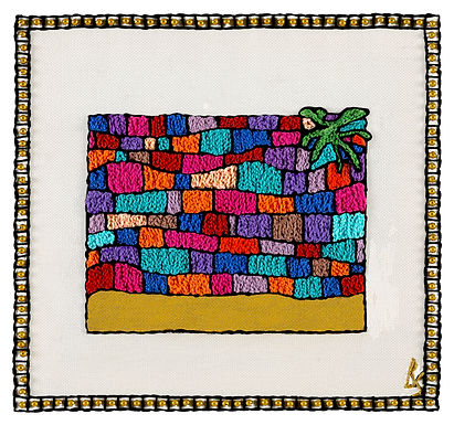 THE NEW KOTEL SYMBOL-Original Hand Embroidered Artwork