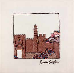 BROWN JERUSALEM-The Original Hand Embroidered Artwork-37x37 cm