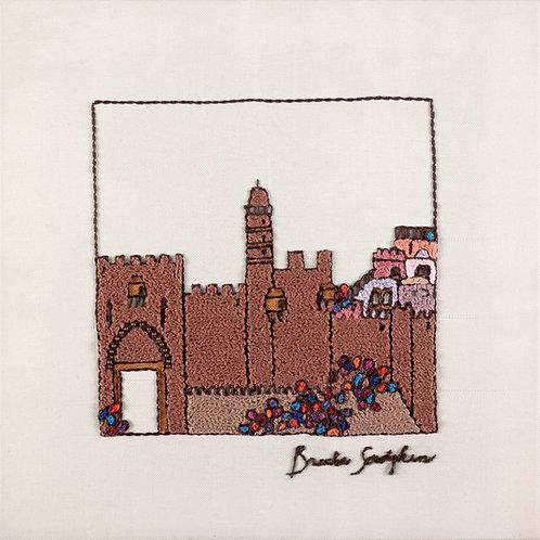 BROWN JERUSALEM-The Original Hand Embroidered Artwork-37x37 cm