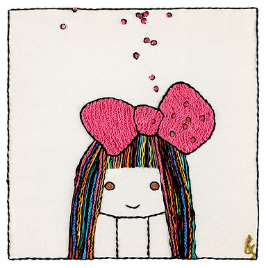 Colored Bow Girl-The Original Hand Embroidered Artwork