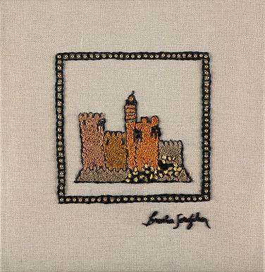 MINI JERUSALEM-MIGDAL-The Original Hand Embroidered Artwork-35x36cm