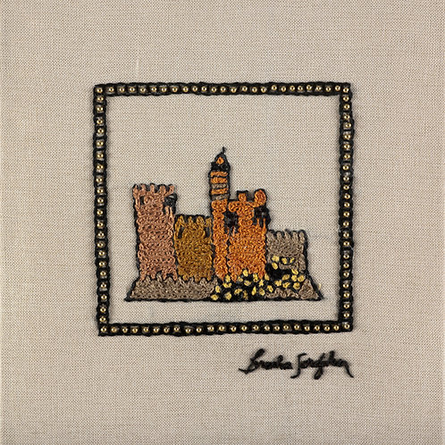 MINI JERUSALEM-MIGDAL-The Original Hand Embroidered Artwork-35x36cm