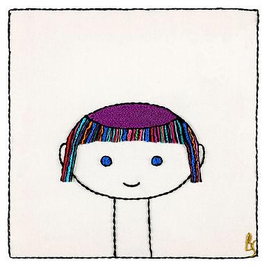 Colored Kipa Boy-The Original Hand Embroidered Artwork