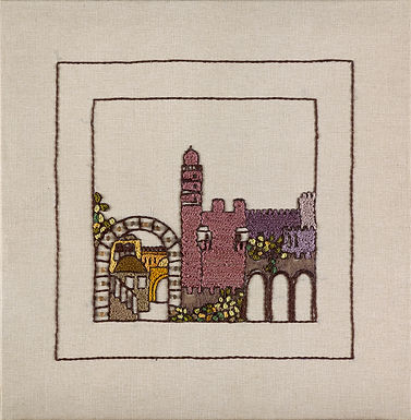 JERUSALEM PANORAMA-RED MIGDAL-Original Hand Embroidered Artwork-56x56 cm