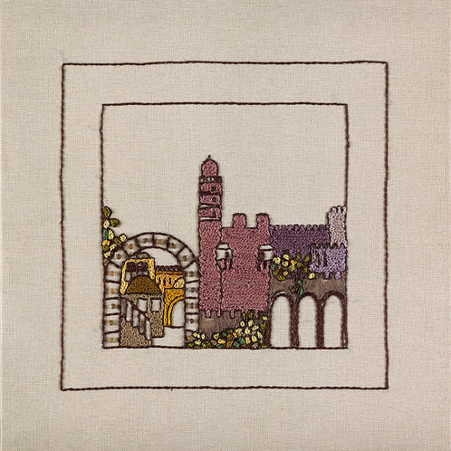 THE ORIGINAL HAND EMBROIDERED-JERUSALEM PANORAMA-RED MIGDAL
