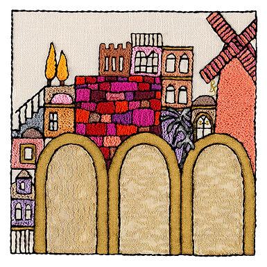SQUARES-GATES-Original Hand Embroidered Artwork 64x64 cm