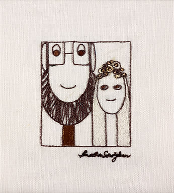 THE BRIDE AND GROOM-The Original Hand Embroidered Artwork
