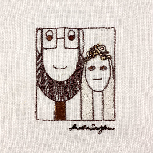 THE ORIGINAL HAND EMBROIDERED-THE BRIDE AND GROOM