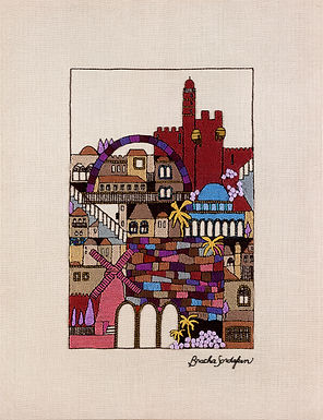 TALL MAROON JERUSALEM-Mounted Stretched Canvas-45x60-Archival Print
