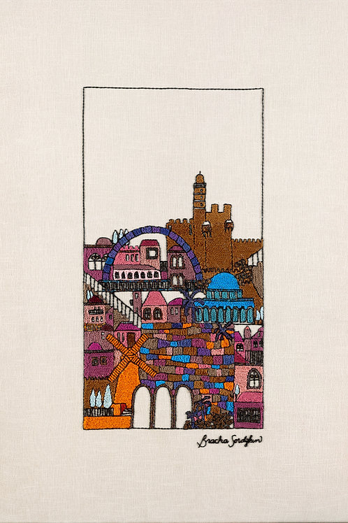 TALL BROWN JERUSALEM-The Original Hand Embroidered Artwork-79x118cm