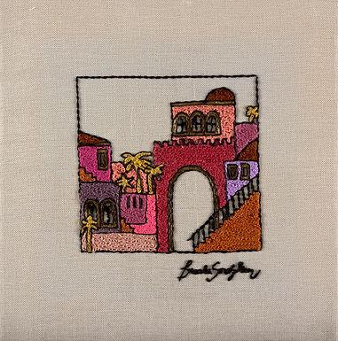 THE RED JERUSALEM-The Original Hand Embroidered Artwork