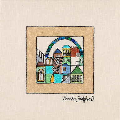 SQUARES-WINDOW-Original Hand Embroidered Artwork
