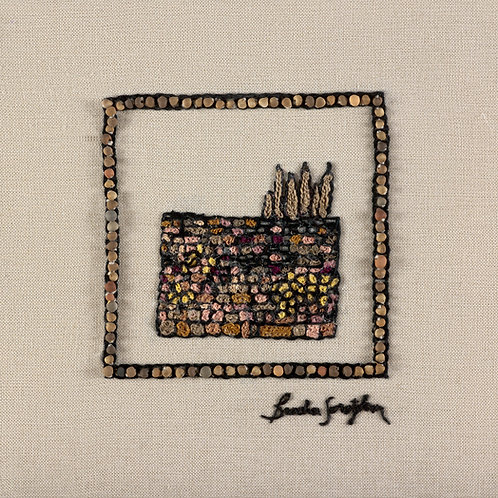 MINI JERUSALEM  KOTEL-The Original Hand Embroidered Artwork-35x36cm