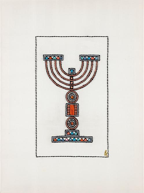 Orange-Menorah Unmounted Rolled Archival Print